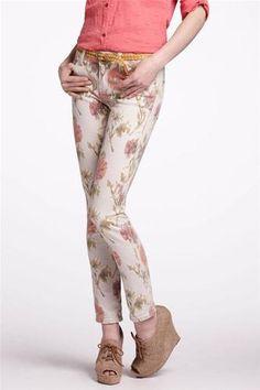 Anthropologie Pilcro Floral Ikat Stet Slim Pants