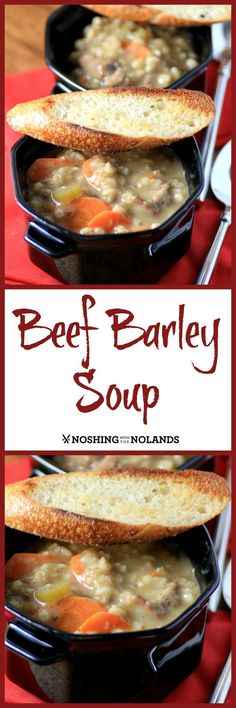 Beef Barley Soup from Noshing With The Nolands is a comforting soup for those cold winter days! I am honored to have the cookbook where this recipe is featured dedicated to me!
