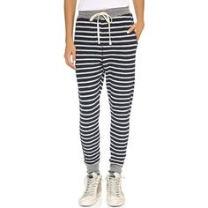 SUNDRY Stripe Sweatpants ($115) ❤ liked on Polyvore featuring activewear, activewear pants, striped sweatpants, cuffed sweatpants, cuff sweatpants, sundry sweatpants i sweat pants