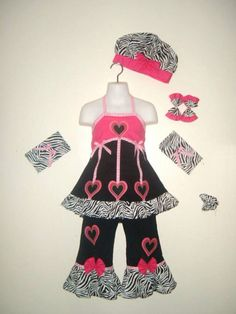 Girls ANN LOREN poodle outfit 12-18-24 2T 3T 4T 5 6 NWT ruffle cuffs pink cotton