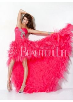 $279.99  Fuchsia Strapless Natural Asymmetrical And Floor-length Tulle Prom Dress With Beading #obsessed #dress #Vogue