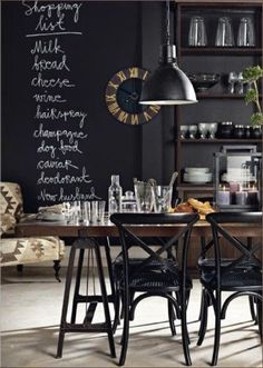 Black walls, industrial table, white floors... and a hilarious shopping list ;)