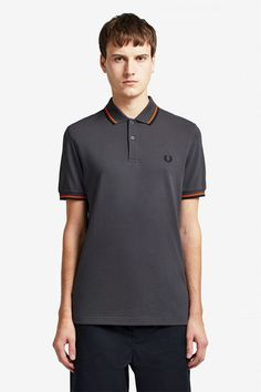 Fred Perry Fred Perry Slim Fit Twin Tipped Polo Black, Mid Blue & Mahogany - Trouva Fred Perry Polo Shirts, Fred Perry Shirt, Celebrity Closets, Celebrity Style, Pique Shirt, Twin Tips, Tennis Shirts, Tennis Fashion, Charcoal Color