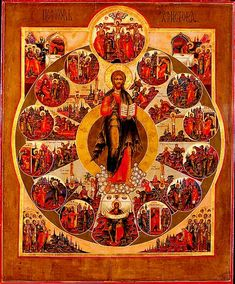 IC.XC__σκηνες από τη ζωη του     ( Medieval Russian icon depicting the life of Jesus