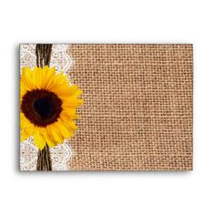 Country Burlap Sunflower Lace Twine Print Envelope