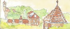 Glenwood springs watercolor illustration