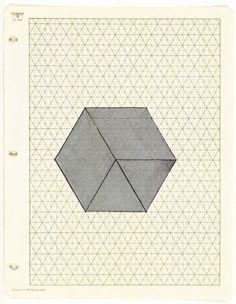 "vjeranski: ""FRED SANDBACK Untitled, 1970 ink and silver ink on isometric paper """