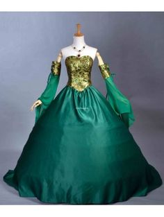 angel sleeves dress victorian era | Victorian Clothing > Victorian Dresses > Green Off Shoulder Victorian ...