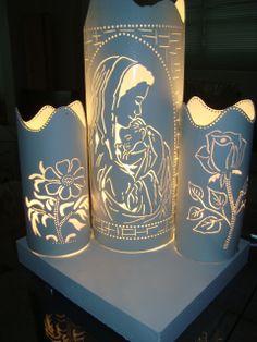 Religious PVC lamps  http://www.luartscriacoes.com.br/categories/Abajur-Religiosos/                                                                                                                                                                                 Más