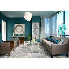 dark teal walls, love it with brown furniture!