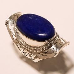 STAMP 925 SOLID STERLING SILVER HANDCRAFTED BLUE LAPIS LAZULI  RING-9   GRAM15.7 #Handmade
