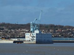 The accommadation barge and dockside crane by Rochester riverside walk [shared]