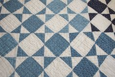 Blue and White Calico 19th Century Antique Quilt Piece - 45 x 17 Inches