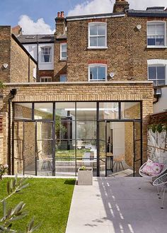 Real home: a bright industrial-style kitchen-diner extension exterior extension House Extension Plans, House Extension Design, Glass Extension, House Design, Brick Extension, Rear Extension, Extension Ideas, Crittal Doors, Crittall Windows