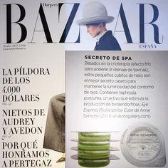 ¡¡¡Nuestros cubitos de #AnneSemonin vuelven a ser noticia!!! Esta vez en Harper´s Bazaar #beauty #efectoflash #crioterapia
