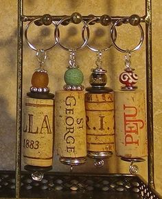 Wine cork key chain - These would be fun to make!