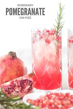 Cocktail recipe: Rosemary, pomegranate, gin fizz - easy, impressive and delicious | www.thegreeneyedgirl.co.uk