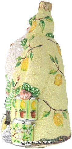 Painterly Santa (Lemons) Patricia Breen Designs (Brown, Cream, Flowers, Fruit, Green, Yellow)