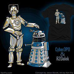 "Cyber3PO & R2Dalek Illustration<<<I pronounced them as, ""seeber-3-p-o and R-2Deelak."