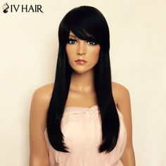 Real Human Hair Long Natural Straight Capless Side Bang Siv Hair Wig #>=#>=#>=#>=#> Click on the pin to check out discount price, color, size, shipping, etc. Save and like it!