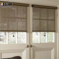 Solar shades are a sleek stylish window covering for doors. These from Bali are 20% off during May!