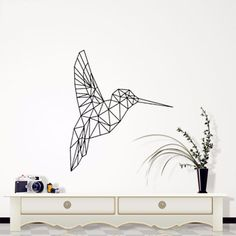 Nov/11 24-Hour Sale | Removable Wall Sticker | Geometric Hummingbird – Next-Millennium