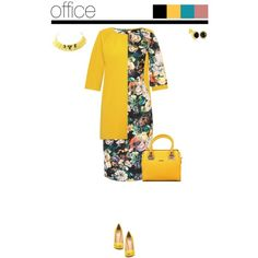 Office outfit: Mustard - Floral by downtownblues on Polyvore featuring LIU•JO, floral, officewear and floraldress Office Outfits, Office Wear, Mustard, Floral, Polyvore, Fashion, Mustard Plant, Florals, Moda