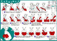 How To tie a kimono Yukata Obi Belt. Read top to bottom, right to left.