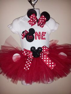 Can be made in Pink or Red 1st Birthday Minnie Mouse Inspired Tutu Set/outfit With Matching bow on crochet band via Etsy