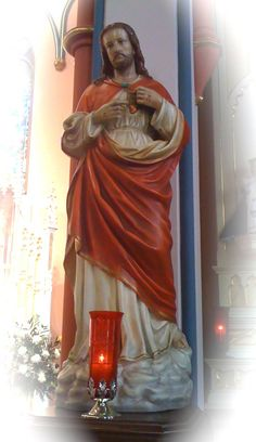 June: The Month of the Sacred Heart.  Sacred Heart of Jesus statue next to right side altar in St. Mary's Oratory, Rockford, Illinois. (Photo by Scott P. Richert)