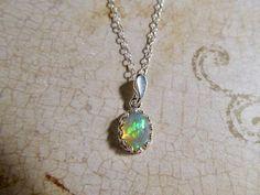 Opal Necklace Silver Genuine Opal Ethiopian Welo Opal Jewelry Moonstone Sterling White Fire Opal Pendant AAAA  Glowing