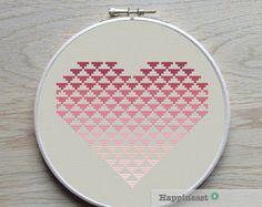 geometric modern cross stitch pattern heart stripes PDF