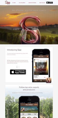 Example of mobile app website design: Sipp