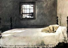 I love the old fringed coverlet and the sleeping dog and the icy blue of the sky in an otherwise muted watercolor.