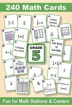 Fraction Operations With Models: Grade 5 MATH CARD GAMES GALORE ...