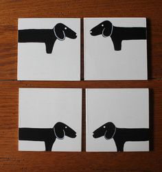 Dachshund Coasters set of 4 Hand Painted on Wood by MaxMinnieandMe, $20.00