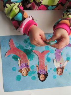 Doll catalogs turned into mermaids. Paper recycling idea for girls craft time