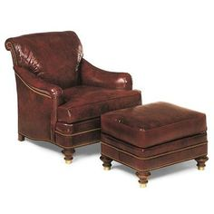 Traditional Leather Chair and Ottoman | Tarleton Chair and Ottoman 9008, 9007 from Hancock & Moore
