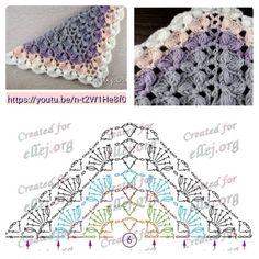 New Crochet Lace Triangle Pattern Knitting 64 Ideas Crochet Bolero, Poncho Crochet, Crochet Shawl Diagram, Crochet Shawls And Wraps, Crochet Chart, Crochet Scarves, Crochet Motif, Crochet Clothes, Crochet Lace