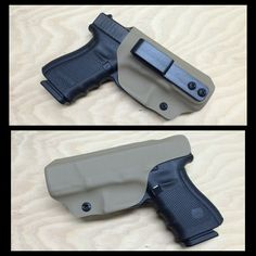 Glock 19 IWB holster in FDE with tuckable overloop belt clip. Follow us on Instagram for a chance to win an IWB holster when we hit 800 followers! www.wolfhollowtactical.com