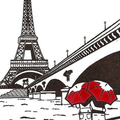 Paris Love gocco art print Eiffel Tower by artsharkdesigns on Etsy, $15.00
