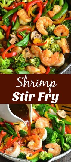 healthy stir fry Shrimp Stir Fry is a quick and healthy dish to serve any time of the week. Simple homemade stir fry sauce, juicy shrimp, and so many different vegetables some together in one delicious dish that everyone will love. Shrimp Stir Fry Healthy, Shrimp Vegetable Stir Fry, Asparagus Stir Fry, Shrimp And Vegetables, Fried Vegetables, Seafood Stir Fry, Stir Fry Vegetables Healthy, Prawn Stir Fry, Shrimp Broccoli Stir Fry