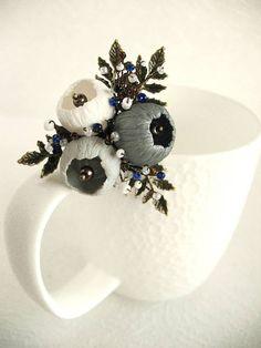 Brooch Waiting... Pin Brooch polymer clay jewelry Grey brooch