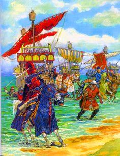 Crusader troops landing in Jaffa.