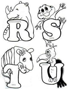 D Alphabet Writing, Hand Lettering Alphabet, Alphabet Design, Alphabet And Numbers, Alfabeto Animal, Colouring Pics, Coloring Books, Embroidery Patterns Free, Hand Embroidery Designs