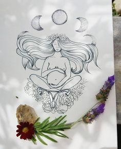 I love 'soft' edginess of this sketch, with the moons and the womb. Pregnancy Drawing, Pregnancy Art, Pregnancy Tattoo, Birth Art, Oeuvre D'art, Body Art Tattoos, Art Inspo, Painting & Drawing, Line Art