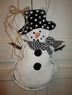 Full Body Snowman Burlap Door Hanger Door Decoration Winter Chevron Scarf. 28.00, via Etsy.