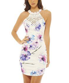 Take a look at this AX Paris Cream & Purple Floral Crochet-Yoke Dress today!