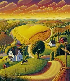 Heartland Painting - Robin Moline Looks like a Grant Wood Original Fine Art Amerika, The Last Summer, Farm Art, Arte Popular, Naive Art, Landscape Art, Fine Art Prints, Folk, Illustration Art