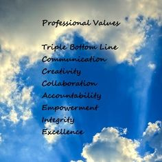 Professional Values: Triple Bottom Line (3 Ps) Communications Collaboration Accountability Empowerment Integrity Excellence
